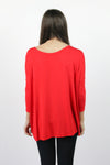 Piko 3/4 Length Sleeve Top - Red
