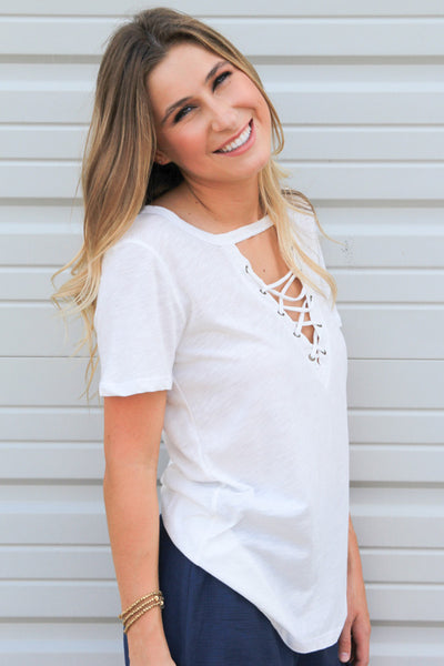 White Lucky Lace-Up Top