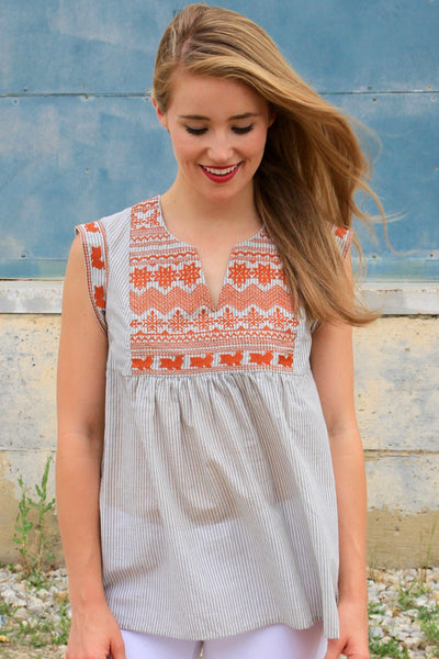 Grey Striped Embroidered Top