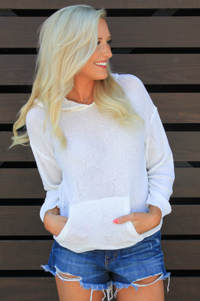 White Stargazer Hooded Sweater