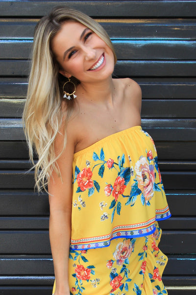 Mellow Yellow Strapless Top