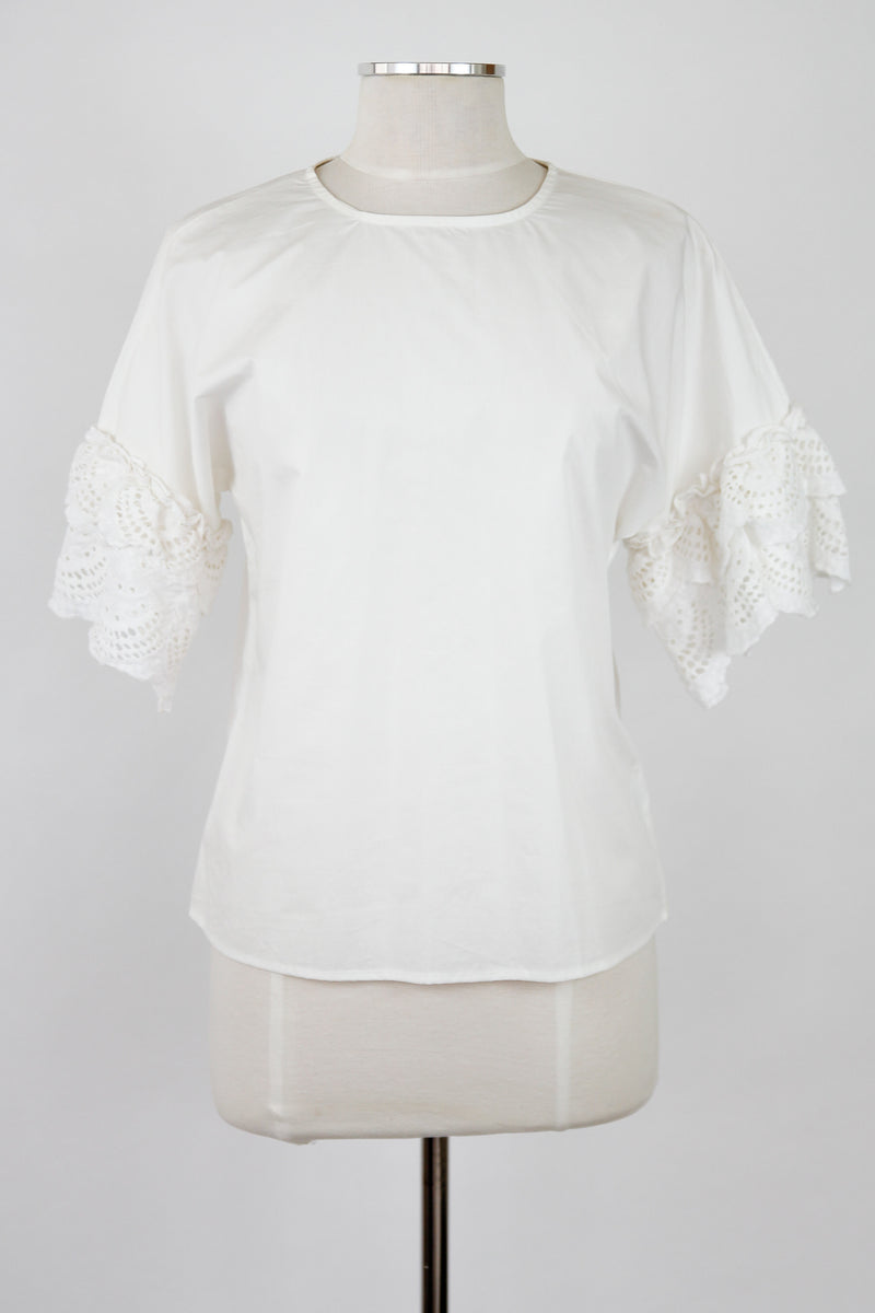 White Layered Eyelet Sleeve Top
