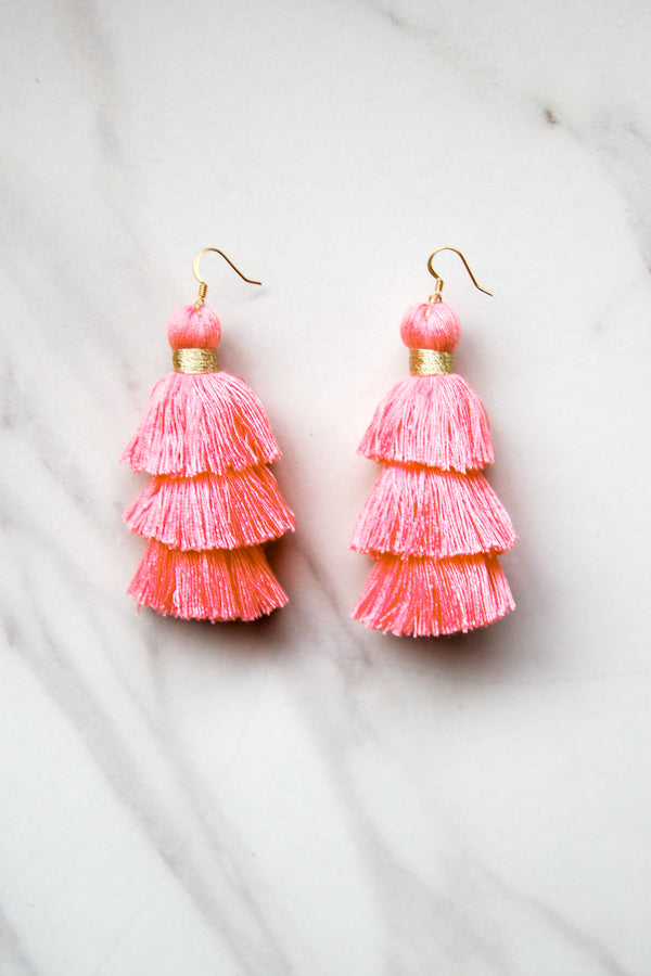 Totally Tasseled Earrings - Pink