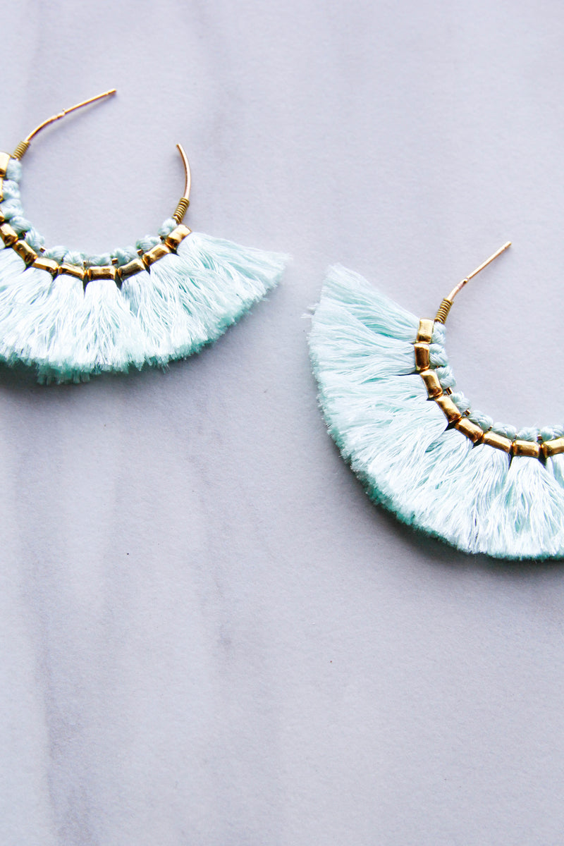 Tantalizing Tassel Earrings - Mint