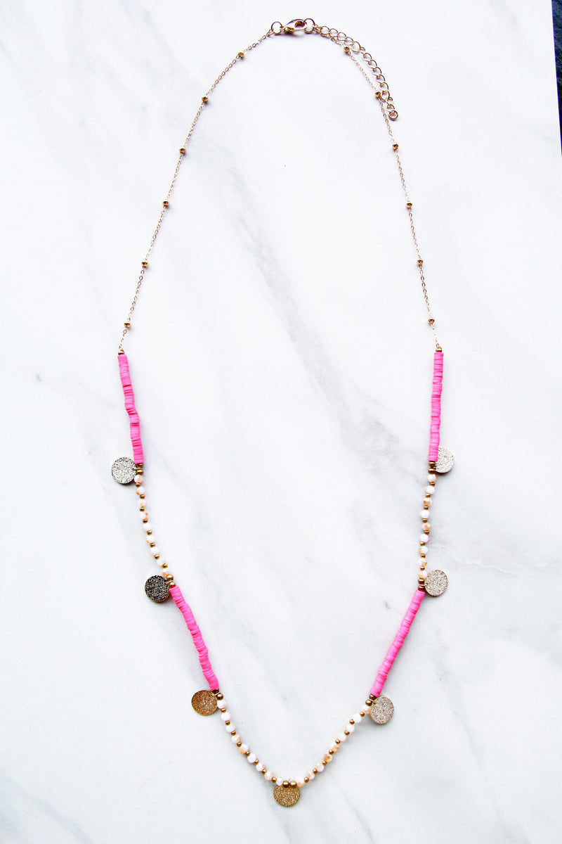 Fairy Tale Charm Necklace - Pink