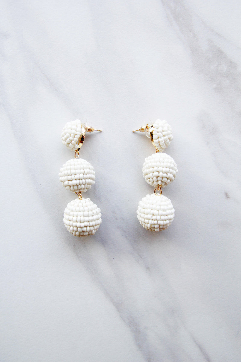 Beaded Babe Earrings - White