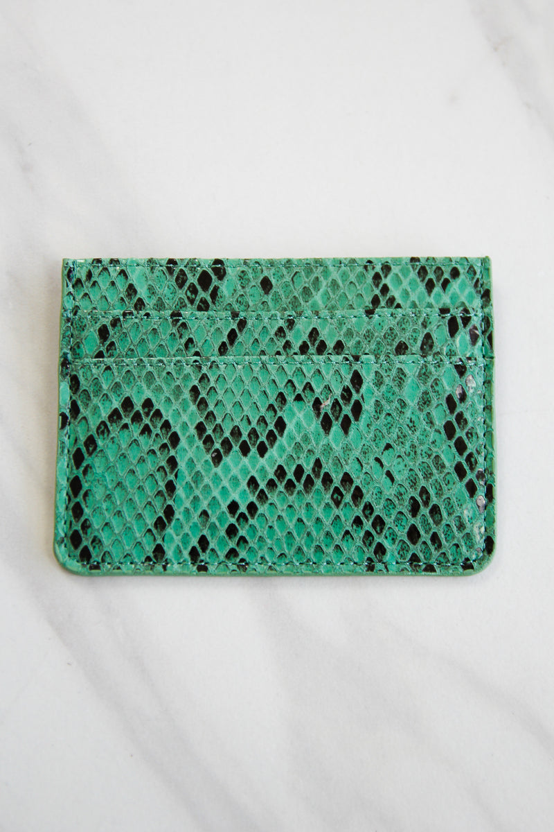 Snakeskin Three Fold Wallet - Green