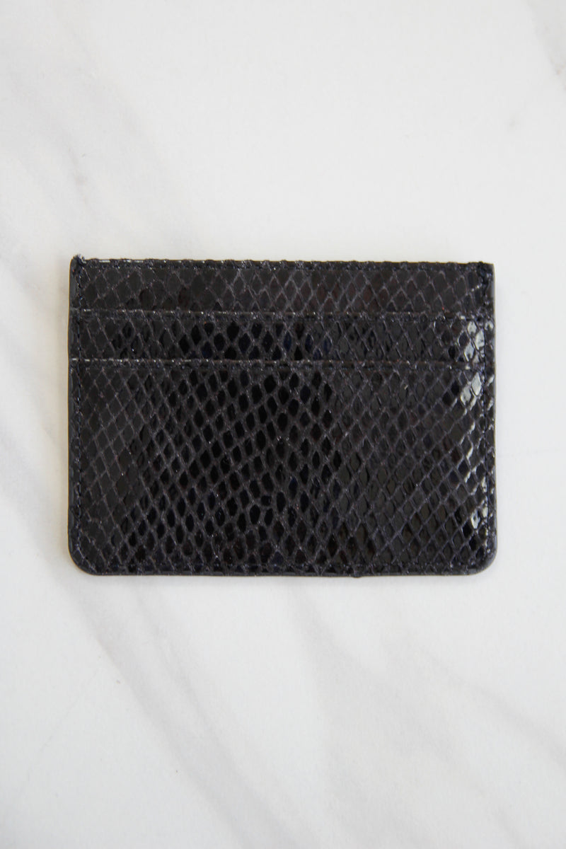 Snakeskin Three Fold Wallet - Black