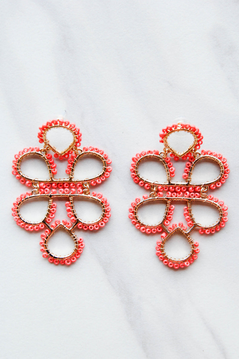 Lola Statement Earrings - Coral