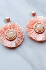 Seaside Disk Earrings - Coral