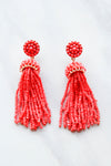 Capri Tassel Earrings - Coral