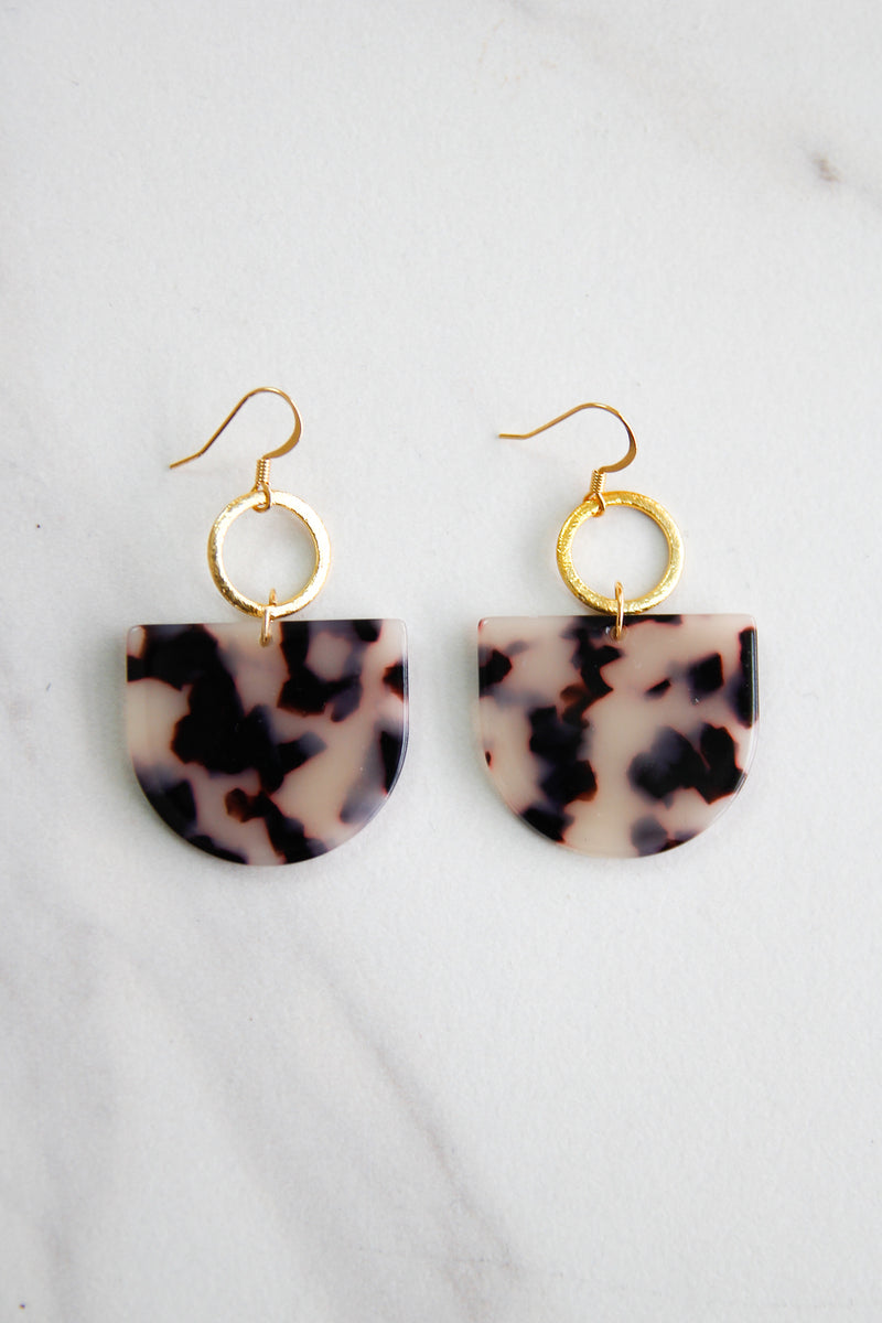 Acrylic Half Circle Earrings - Tortoise