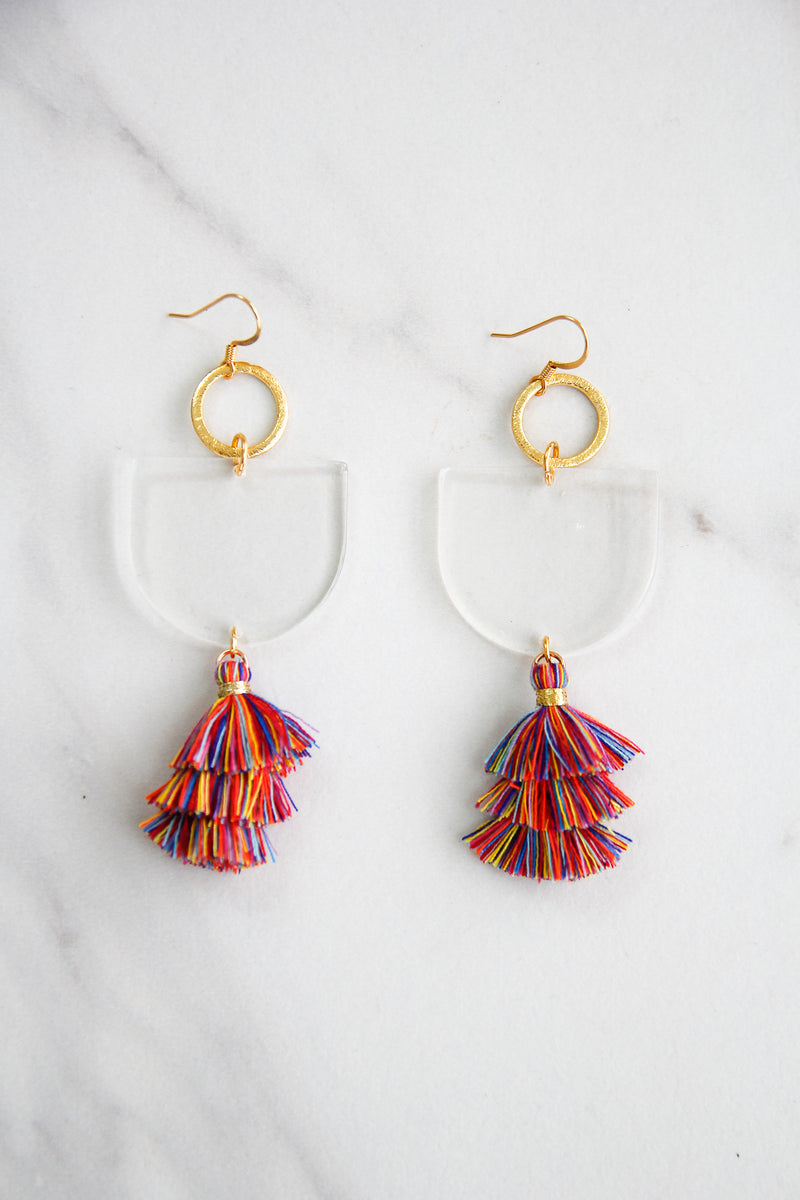 Acrylic Dangle Tassel Earrings - Clear & Rainbow