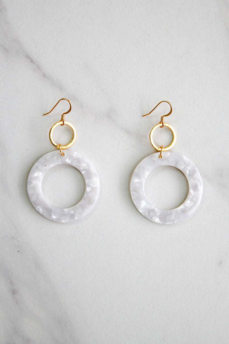 Acrylic Circle Earrings - White Marble