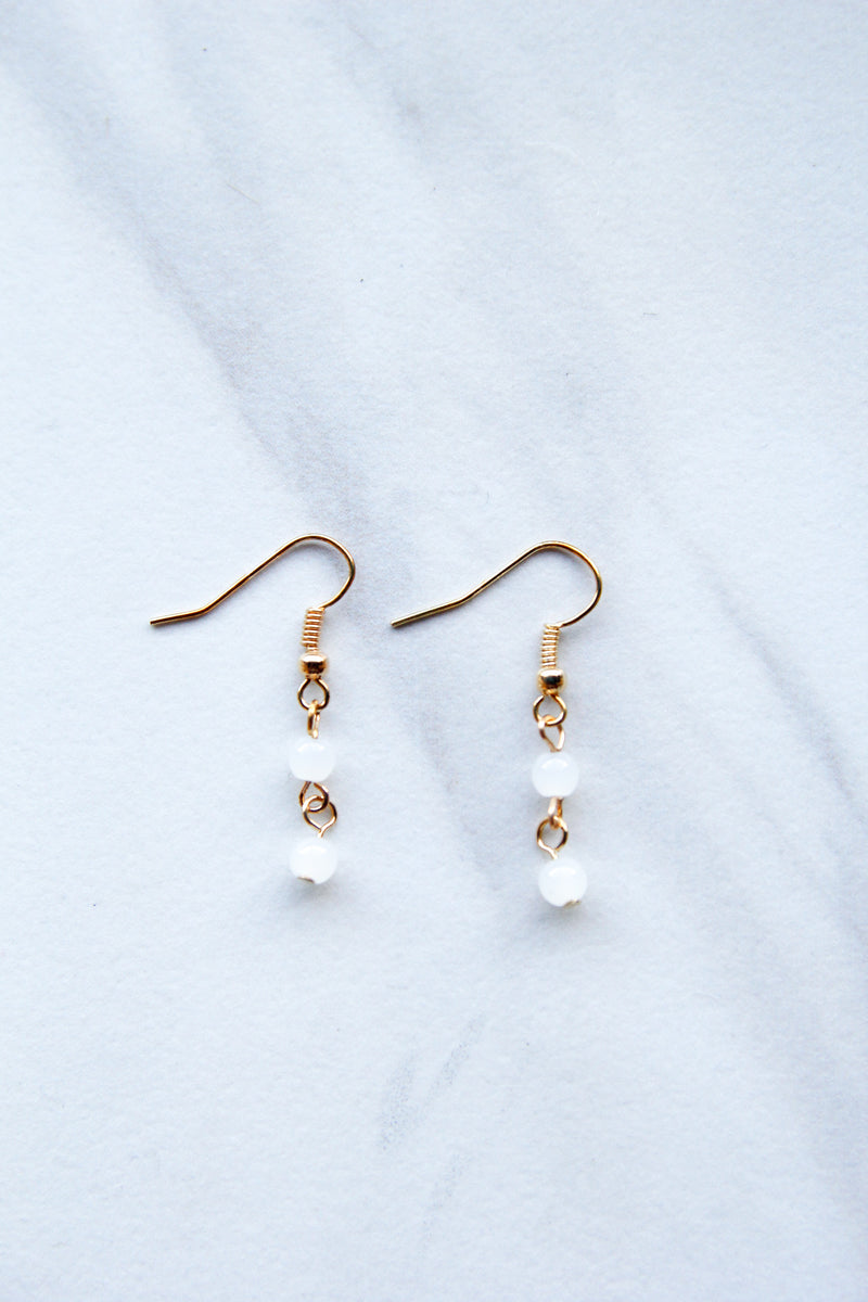 Double Crystal White Earrings