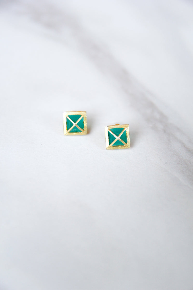 JMarie Square Cross Studs - Green