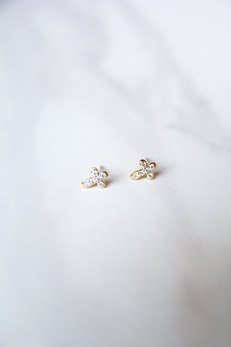 Rounded Cross Studs - Gold
