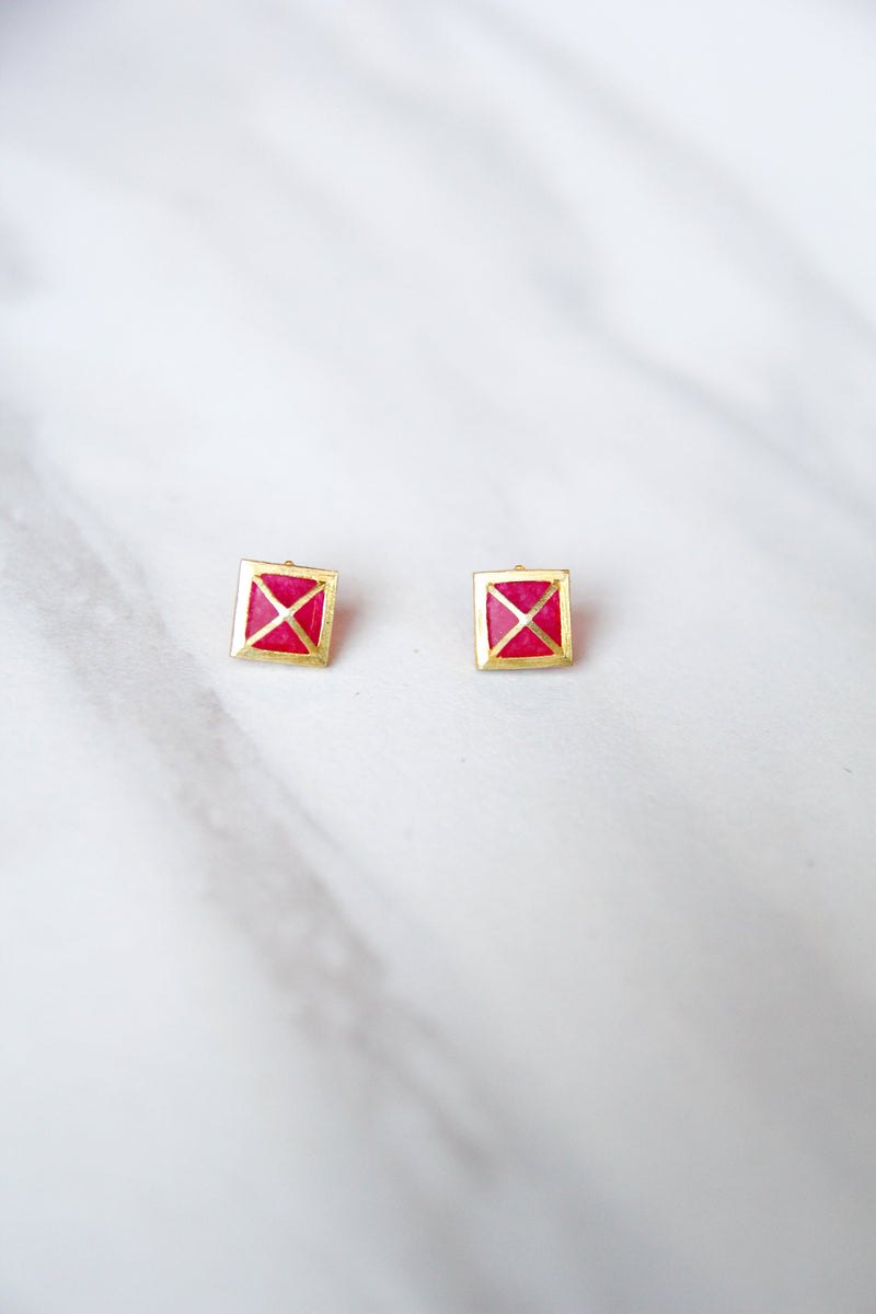 JMarie Square Cross Studs - Pink/Red