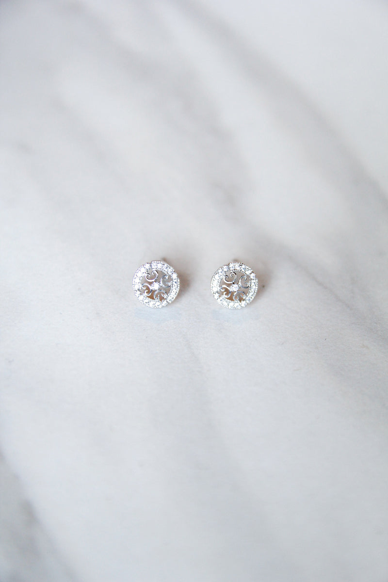 Crystal Detailed Studs - silver