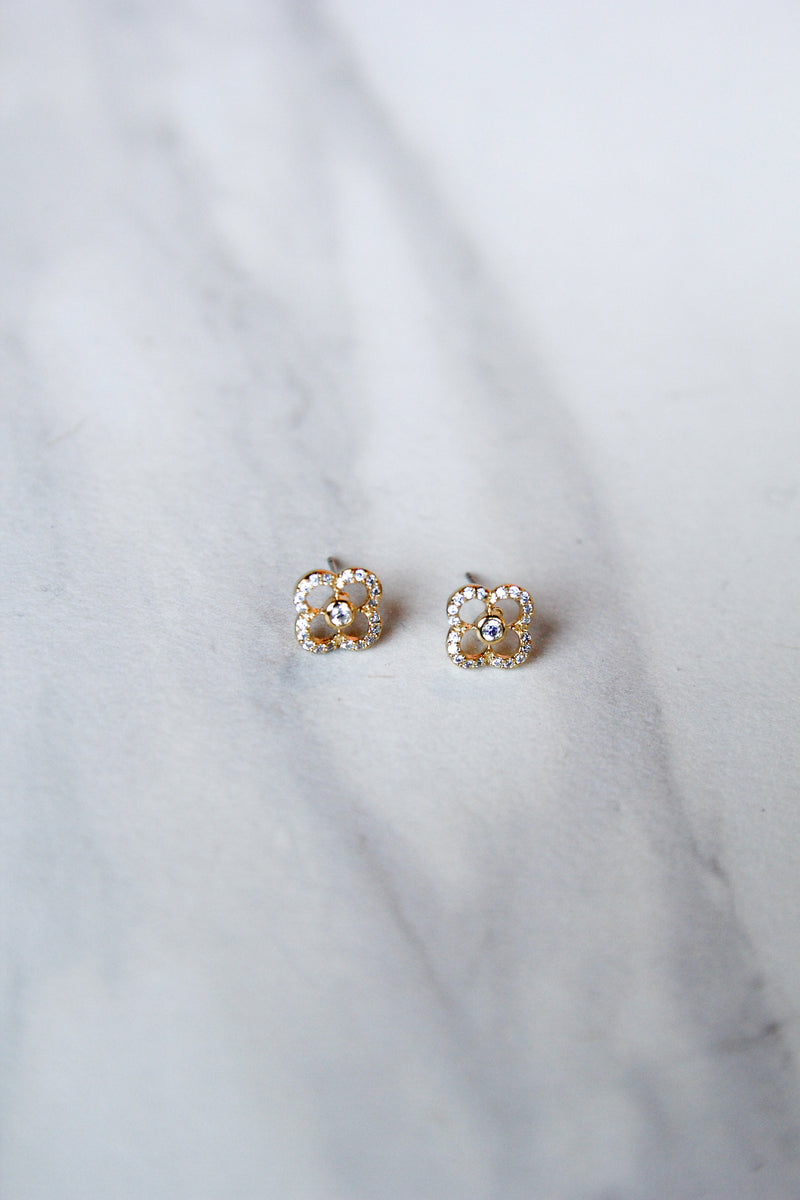 Crystal Clover Studs - Gold