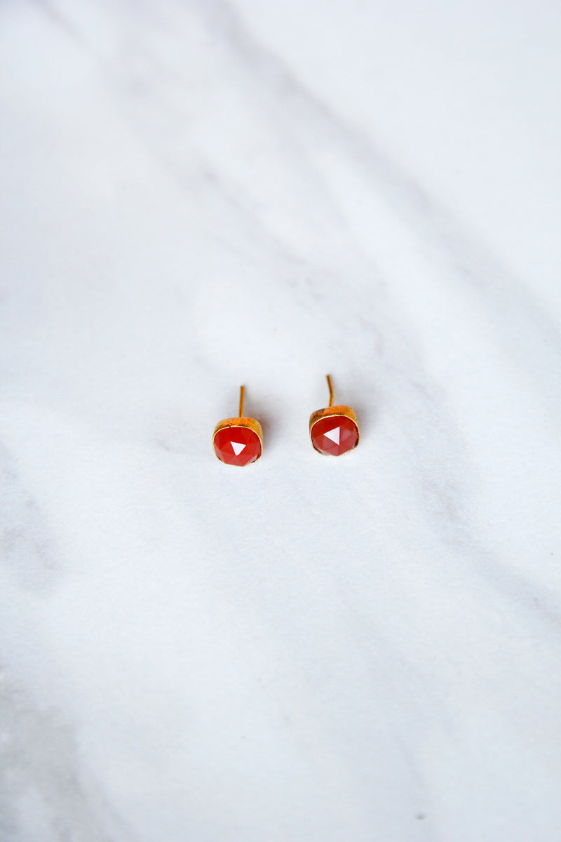 JMarie Rounded Square Studs - Red