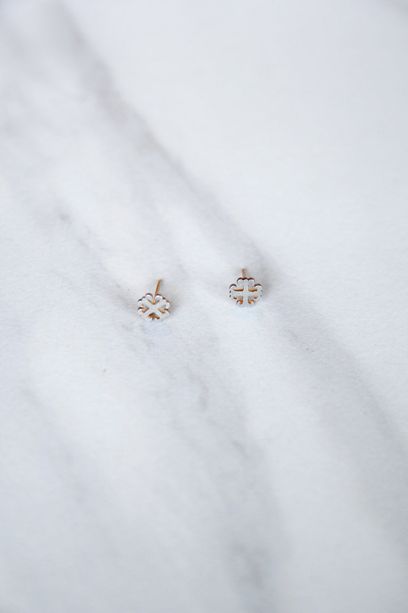 Dogeared English Cross Studs - Silver