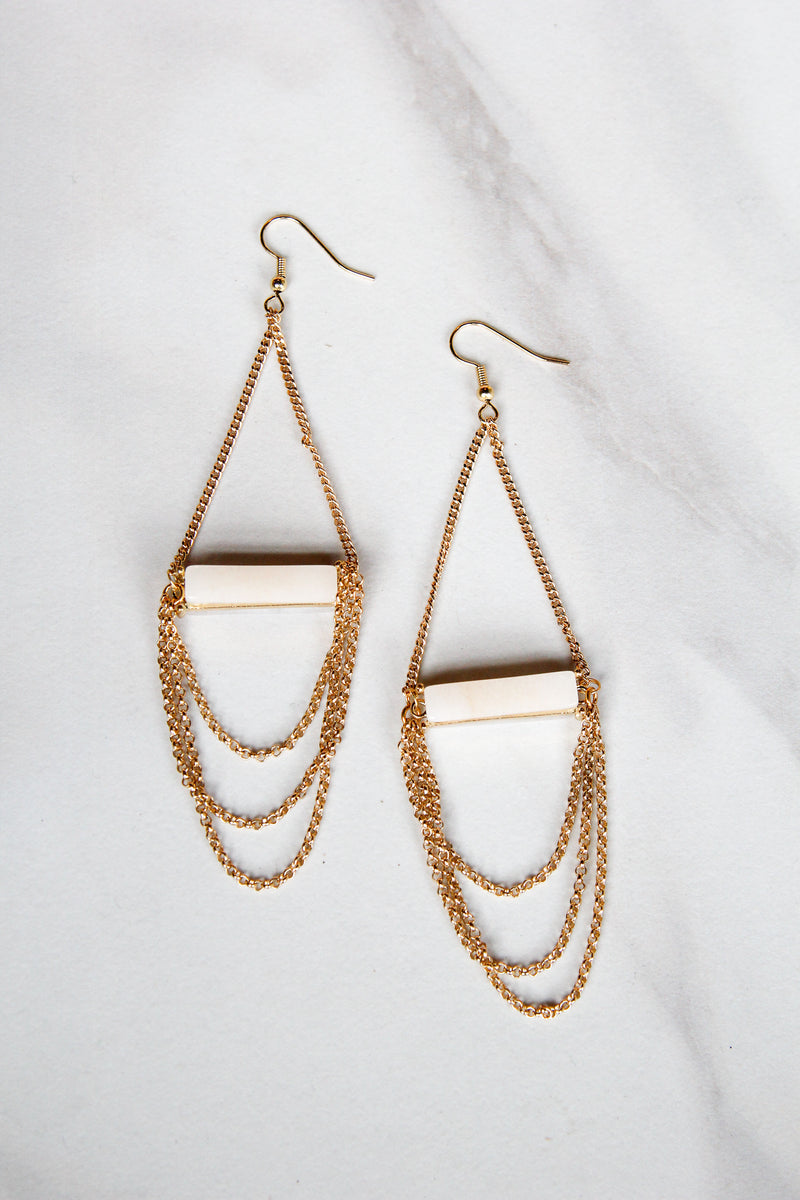 White Bar Triple Chain Earrings