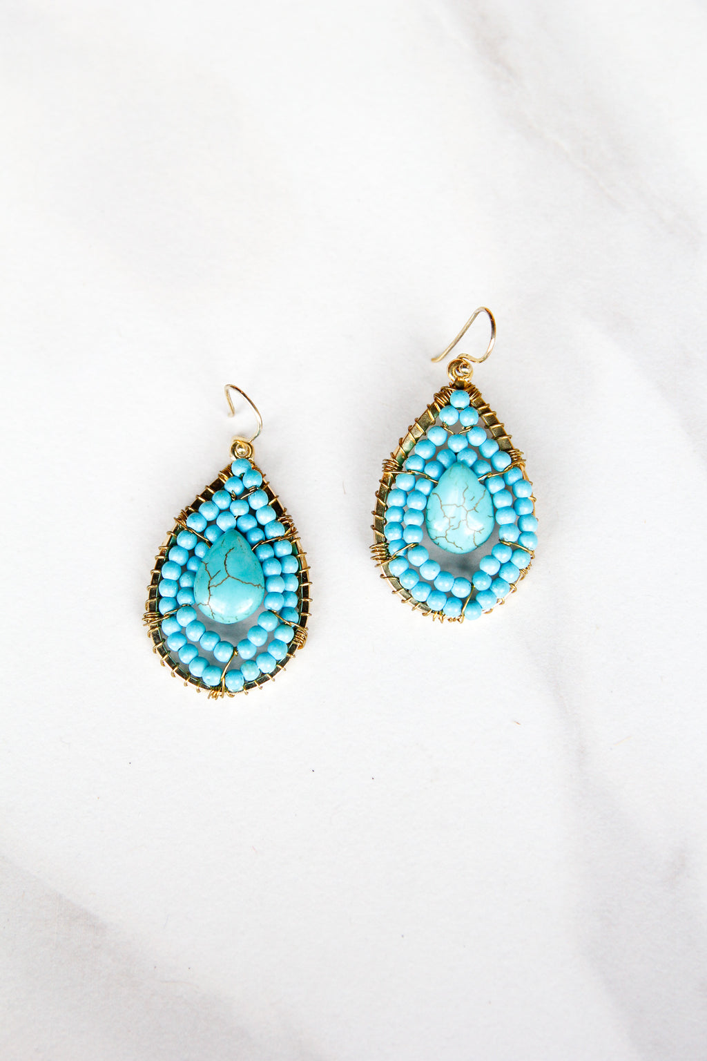 Beaded Stone Teardrop Earrings - Turquoise