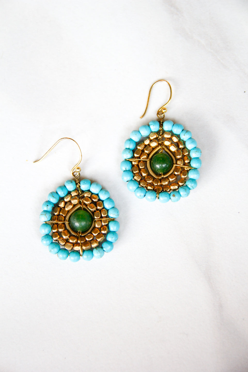 Circle Around Me Earrings - Green