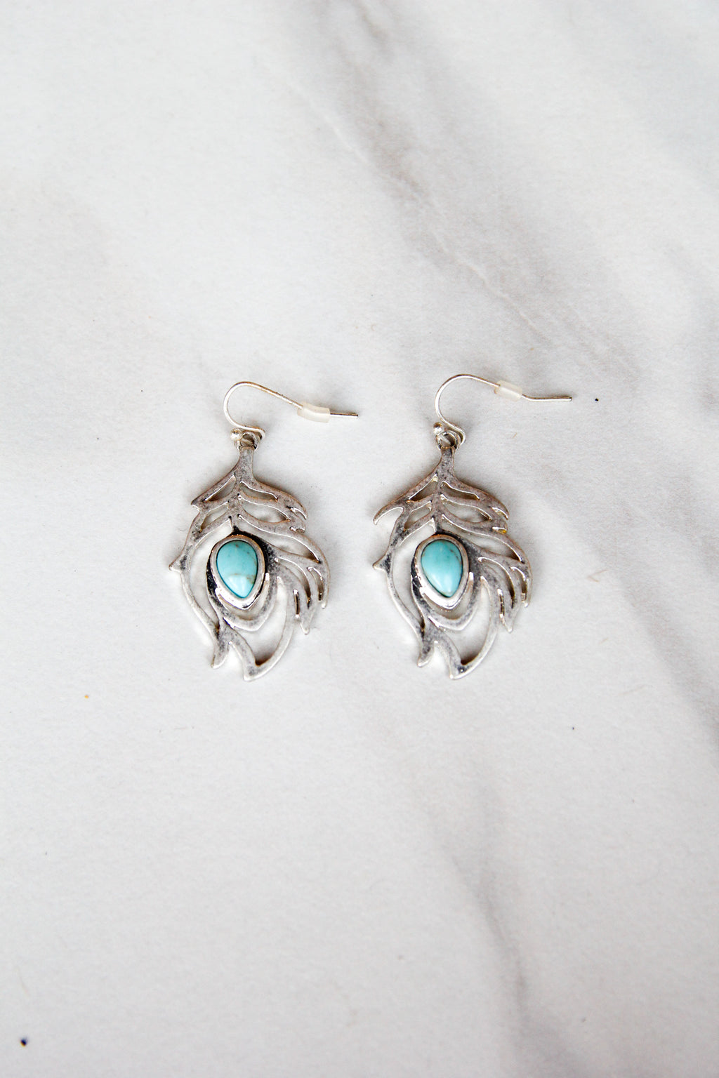 Silver Leaf with Turquoise Stone Earrings