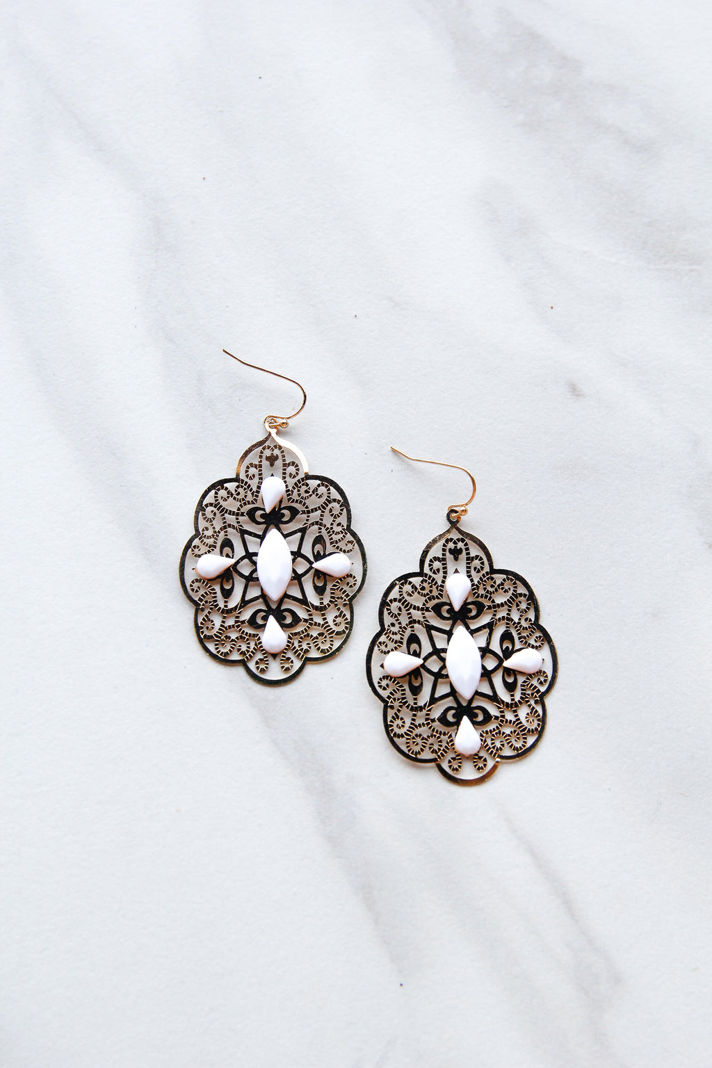 Swirly Earrings - White
