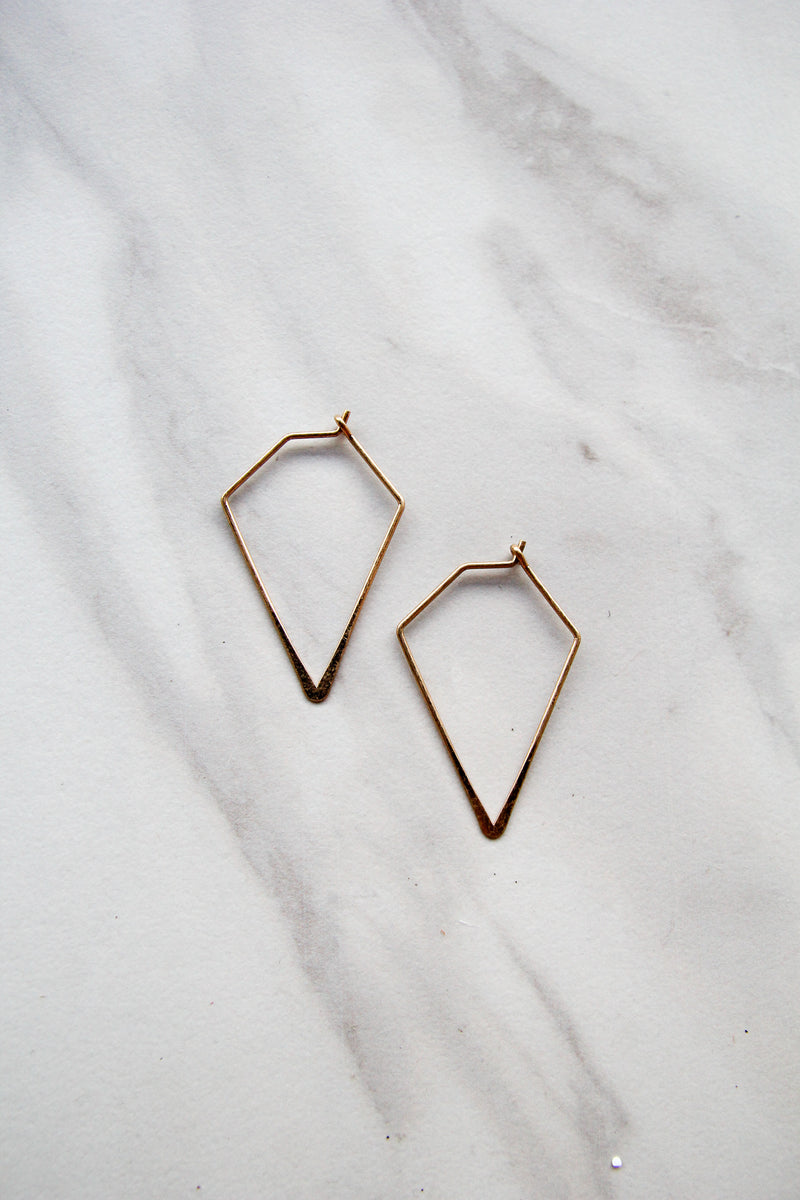 Gold Simple Triangle Earrings