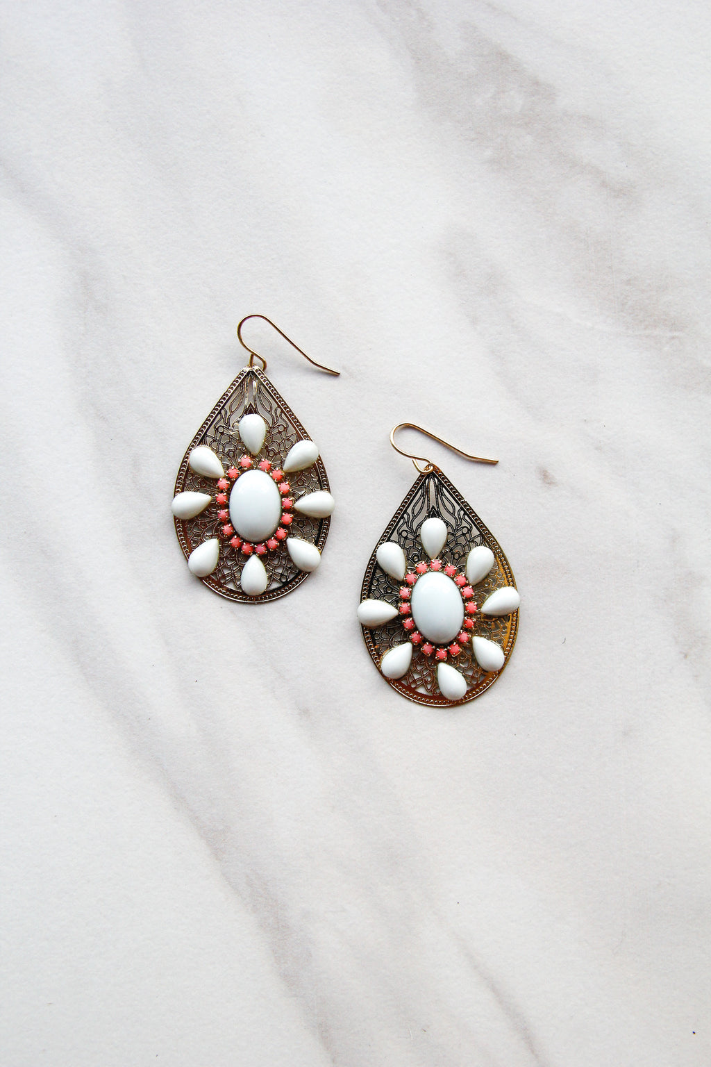 Orange & Mint Drop Earrings