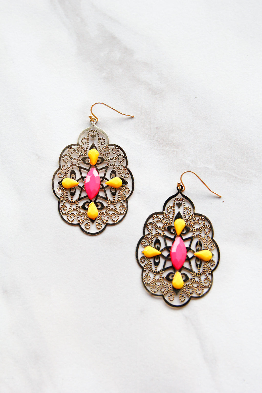 Swirly Earrings - Pink & Yellow