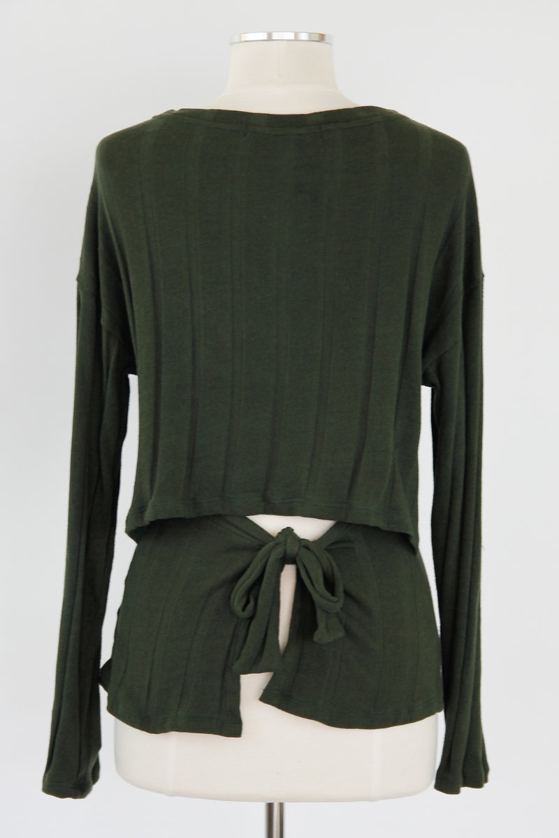 Unexpected Twist Top - Olive
