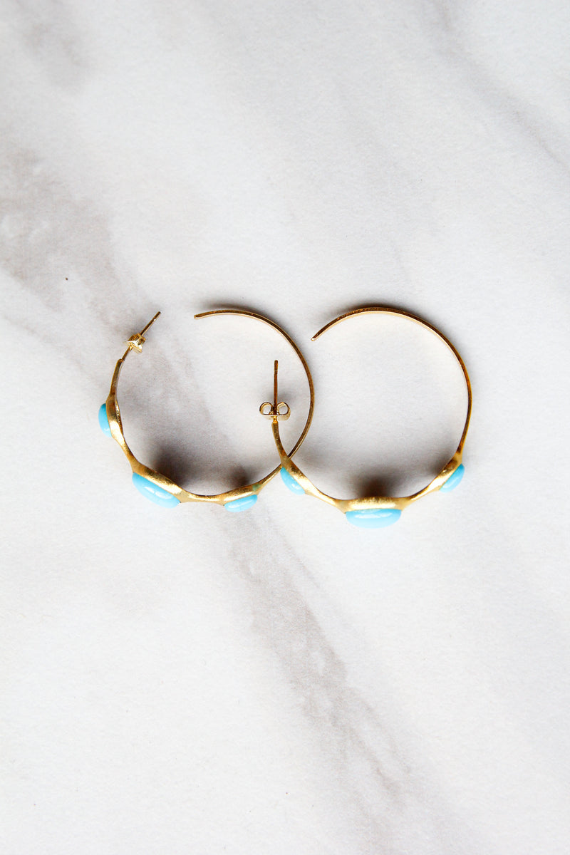 Turquoise Stoned Hoops