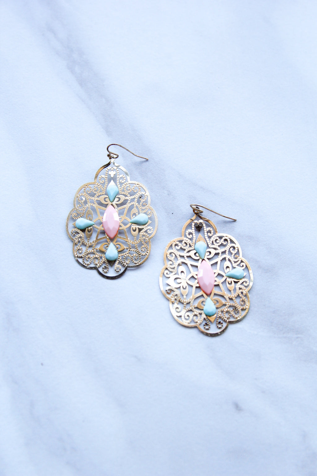 Swirly Earrings - Mint & Peach