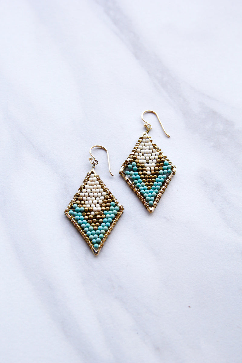 Diamond Shaped Earrings - White