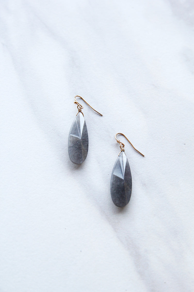Stone Teardrop Earrings - Grey
