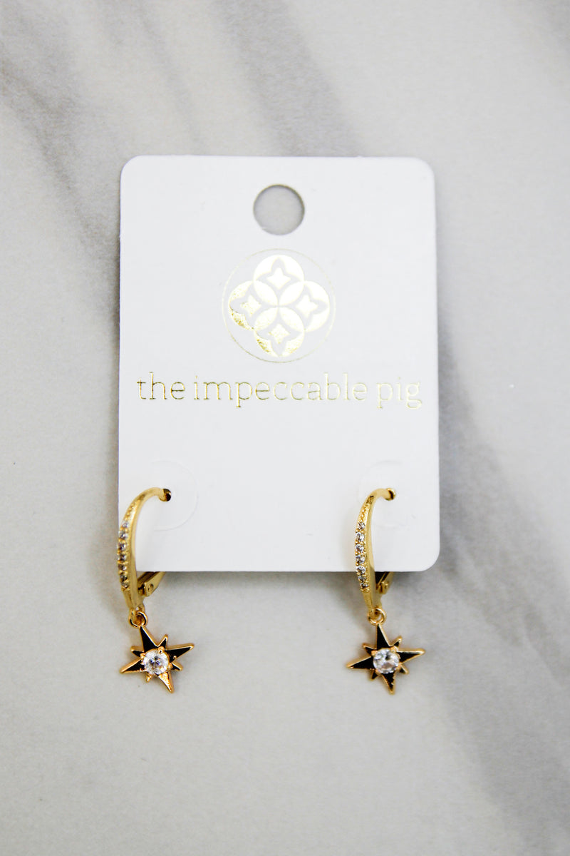 Follow The Stars Huggie Earrings - Gold