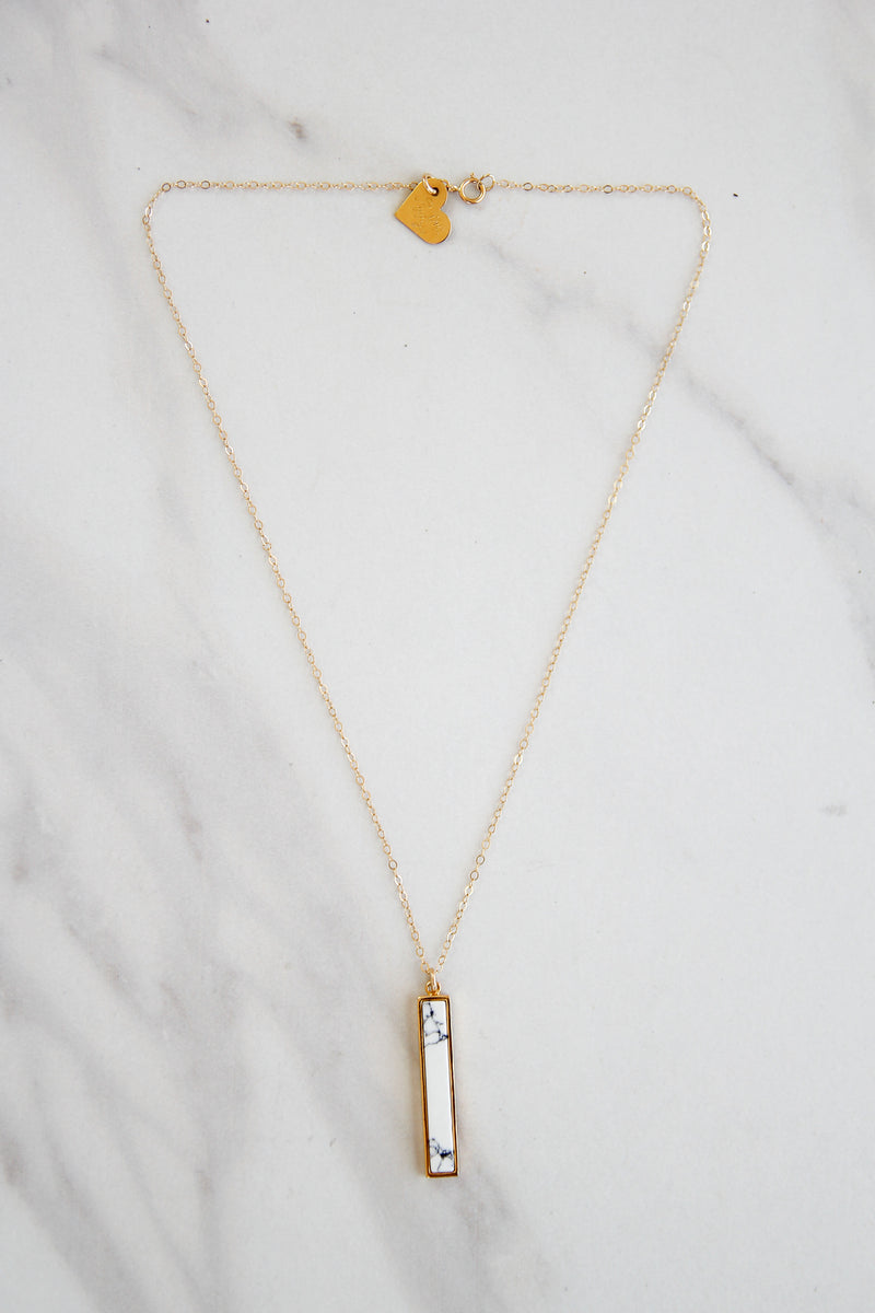 Marble Dropped Bar Necklace