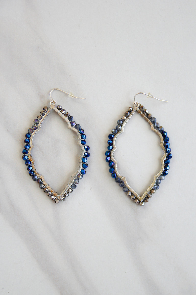 Steel Blue Beaded Edge Earrings