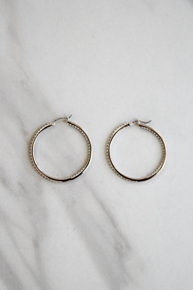Loretta Diamond Hoops - Silver