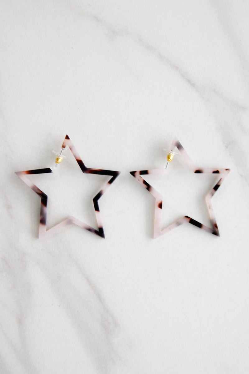 Starstruck Acrylic Earrings - Tortoise