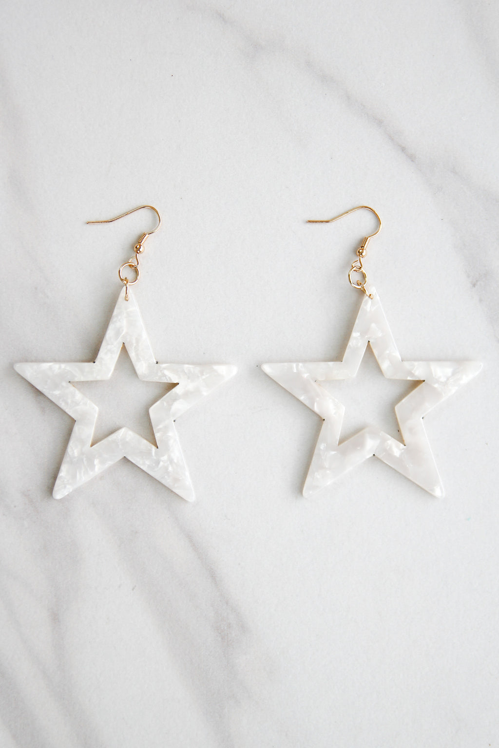 Star Bright Acrylic Earrings - Off White