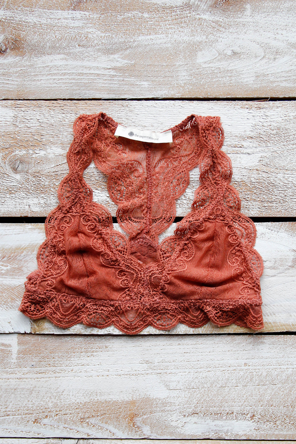 Lovely Lace Racerback Bralette - Rust