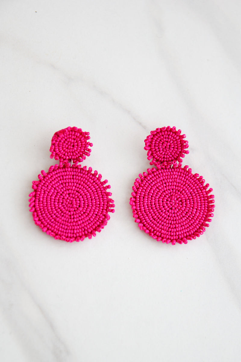 Absolutely Fabulous Beaded Circle Earrings - Pink