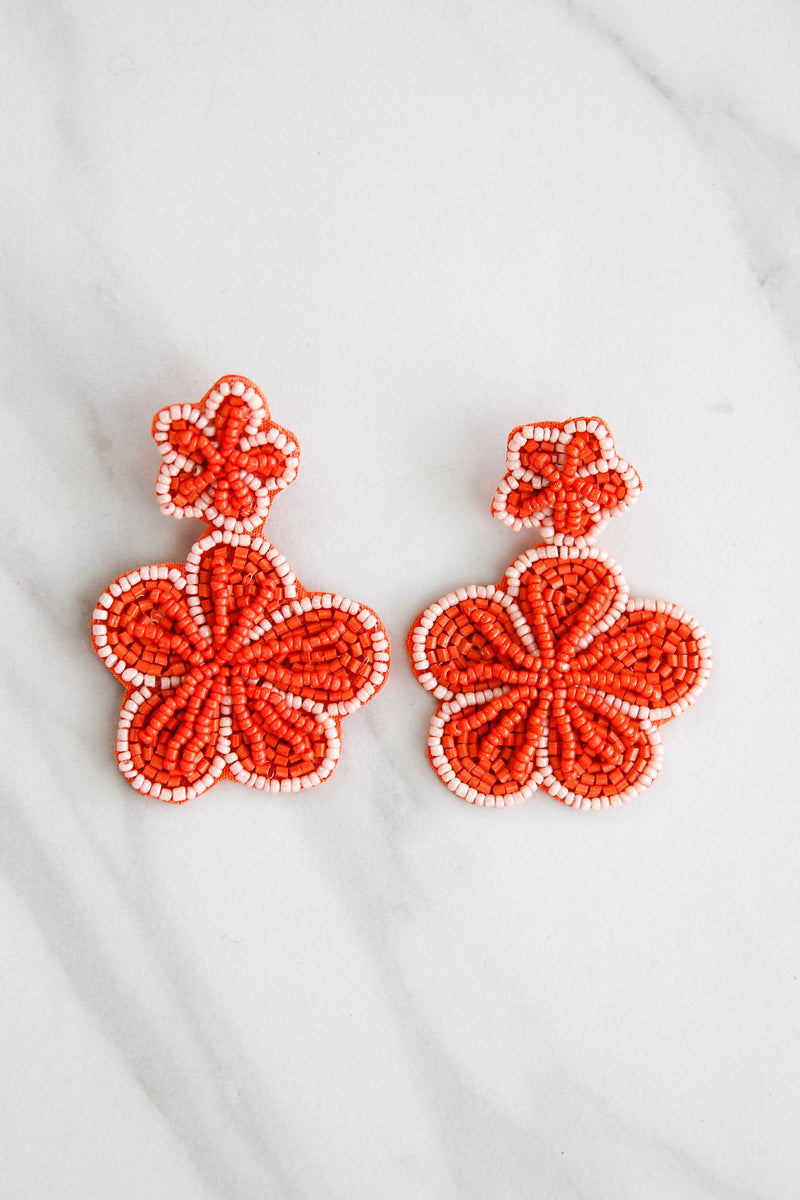 Island Flower Beaded Earrings - Orange