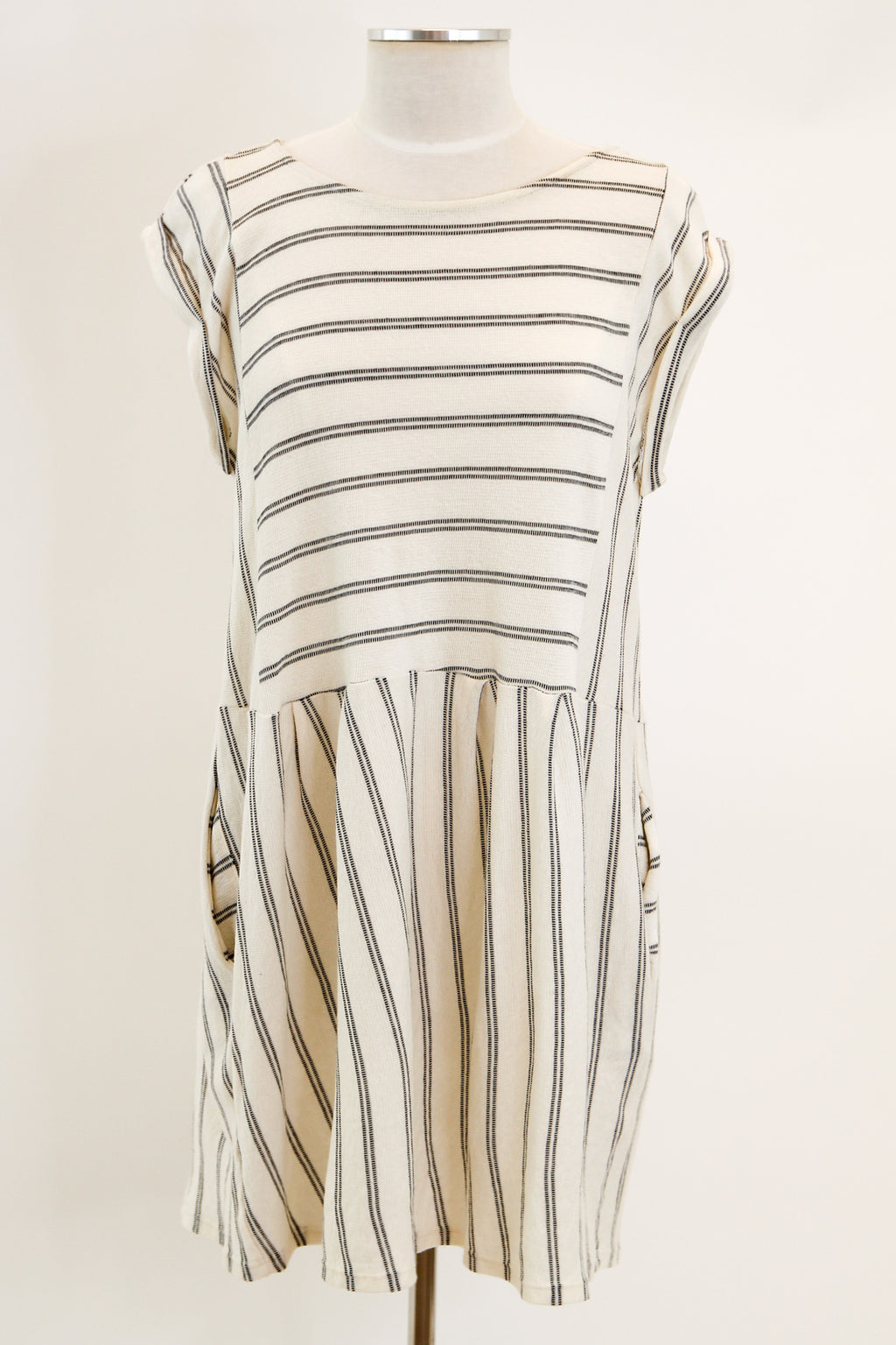Calm As Can Be Dress - White Stripe
