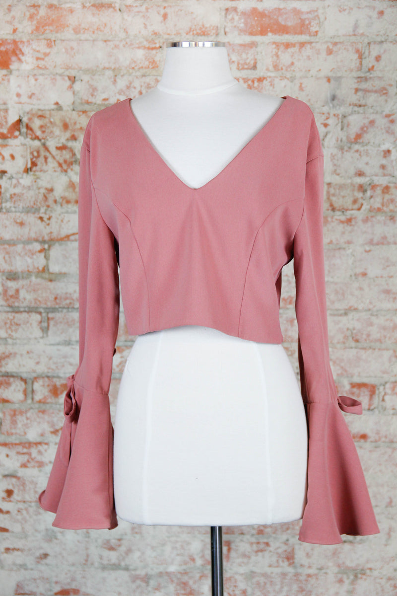 Rose Bell Sleeve Crop Top